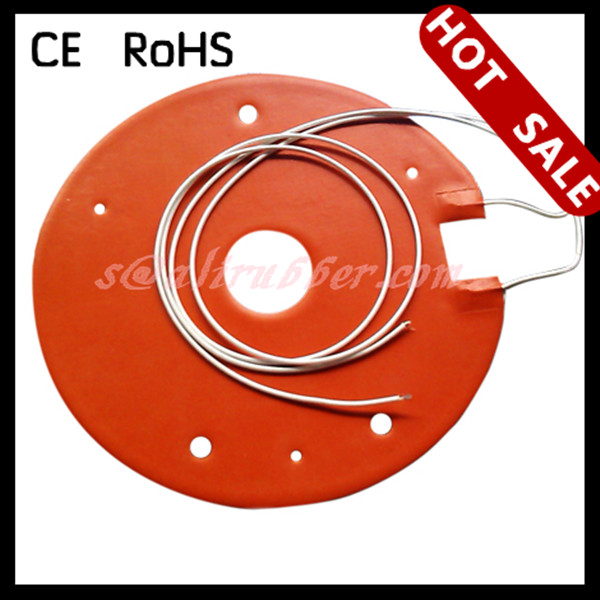 "Silicone Rubber Heater-Round 3.045"" dia, 40W 12V, 12"" PTFE leads, PSA"