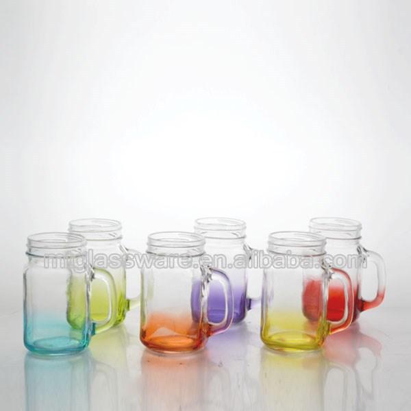 16 oz verre couleur peint mason jar avec poign e avec couvercle et paille bouteilles bocaux de. Black Bedroom Furniture Sets. Home Design Ideas
