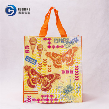 Reusable Folding Pp Woven Laminated Handled Promotional Shopping Bag
