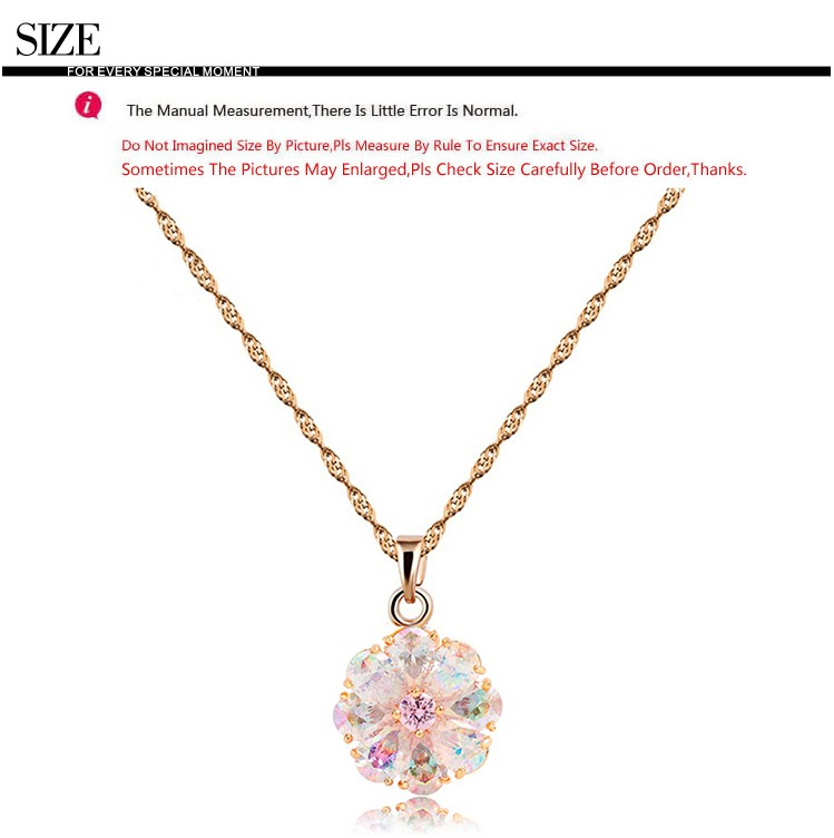 LUOTEEMI New Design Luxury Trendy Perfect Pearl Cut Rainbow Cubic Zircon Flower Pendant Russian Necklace