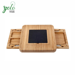 Ecological Bamboo Cheese Board With Stainless Steel Cutlery Set