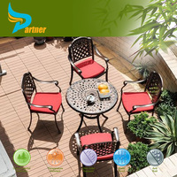 Easy Clean Garden Art Furniture Fast Food Restaurant Tables and Chairs with Umbrella