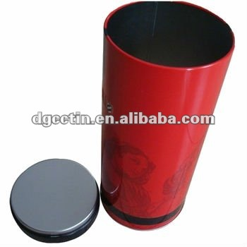 CC round red plug in lids empty tin cans