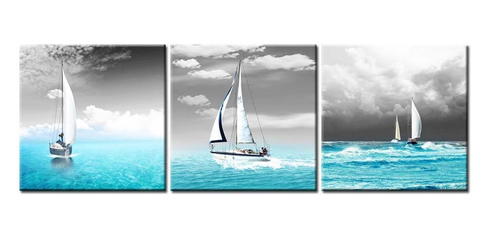Canvas Print Wall Art Painting For Home Decor Tropical Blue Ocean Sea And Sailingboats In Black Sky 3 Pieces Panel Paintings Modern Giclee Stretched And Framed Artwork The Picture For Living Room Decoration Seascape Pictures Photo Prints On Canvas
