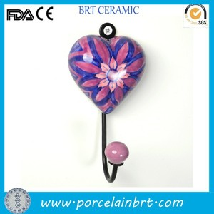 ceramic flower painted heart shape bathroom towel hook for bathroom wall decoration