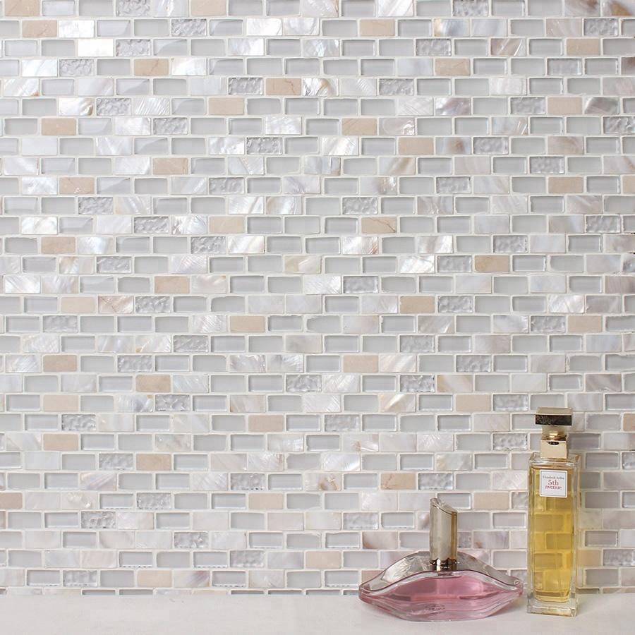 - Latest Design Kitchen Backsplash Wall White Glitter Mosaic