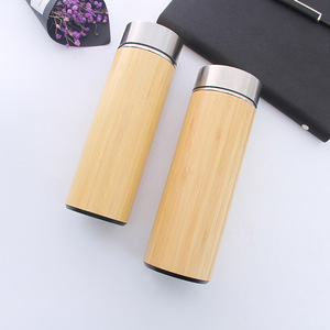 550ml stainless steel bamboo thermos vacuum flask water bottle