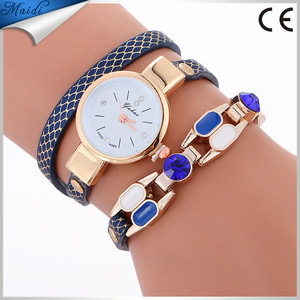 Hot Sale Ladies Fashion Retro Leather Quartz Watch Women Dress Weave Bracelet Watches Cheap Wholesale Relogio Feminino WW122