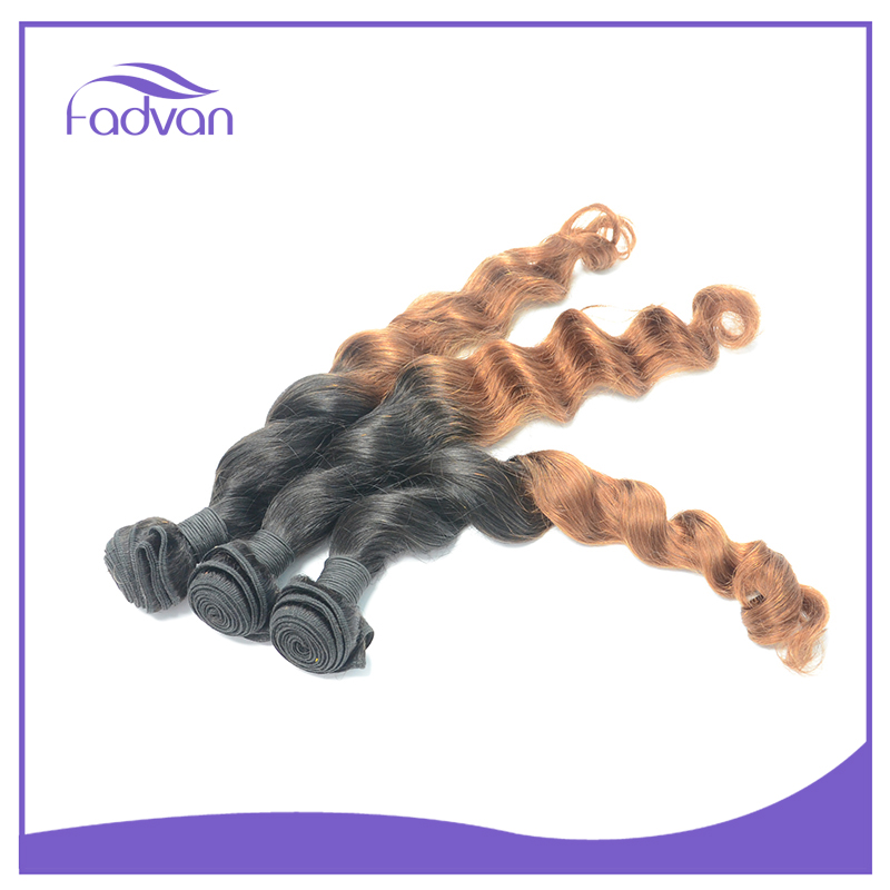 Factory wholesale price colored three tone hair weave peruvian remy ombre deep wave weave