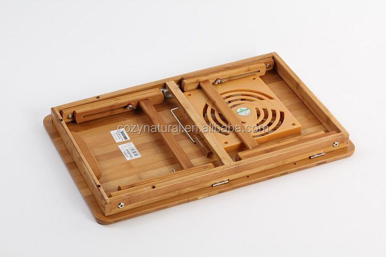 Foldable Tablet Bamboo Laptop Stand Desk Bed Sofa Tray With Cooling Fans