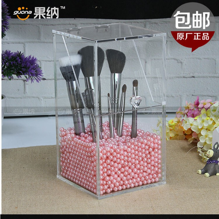 factory customized Transparent large cosmetic brush boxes makeup organizer acrylic cosmetic