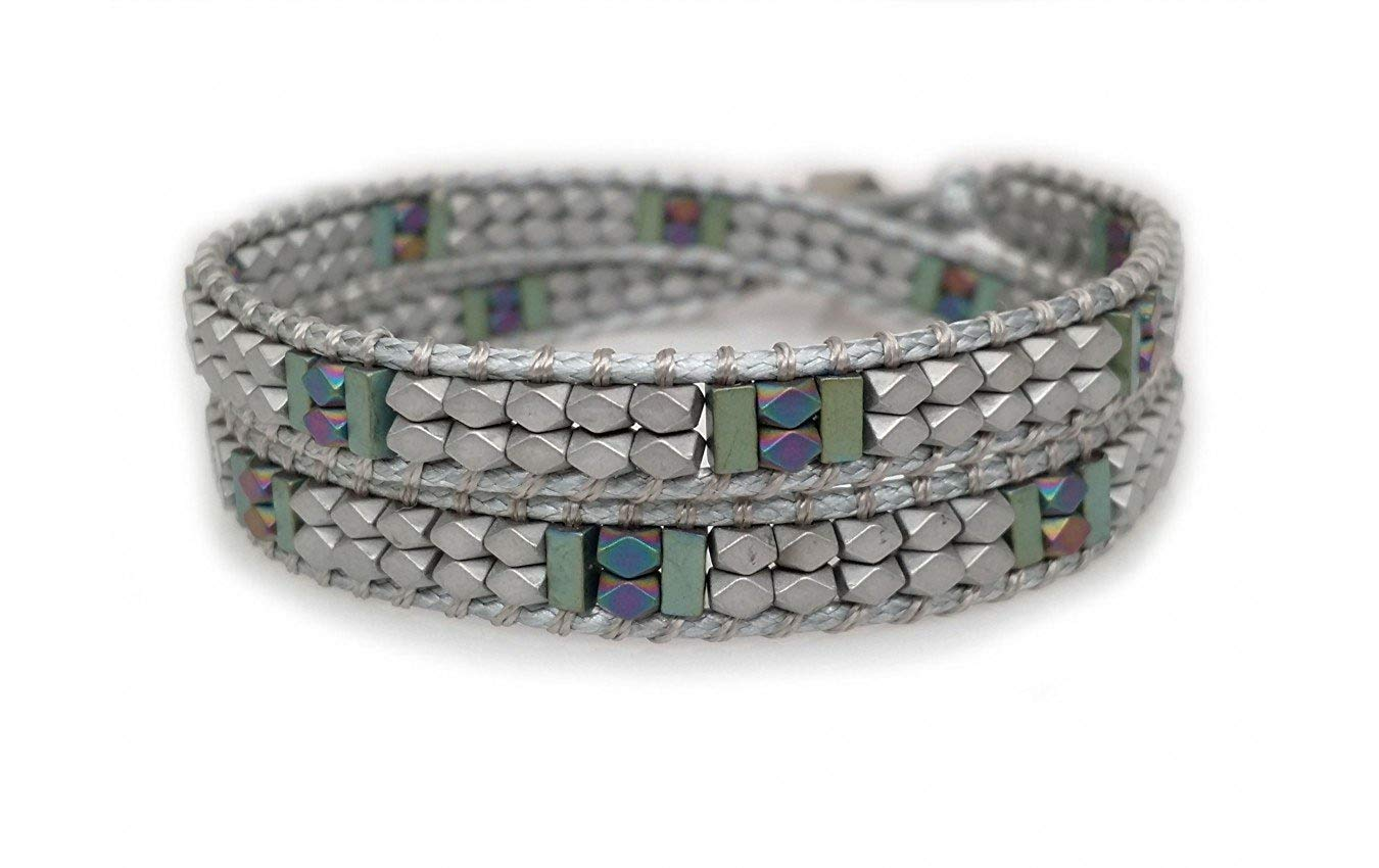 Katie Soleil Handmade Wrap-Around Bracelet With Matte Grey Square Beads And Blue-Green Matte Beads