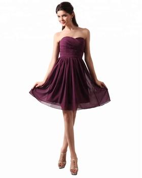 49dbc4bdb5 Cuello Del Amor Corta Plisada Púrpura Oscura Dama De Honor Vestidos ...