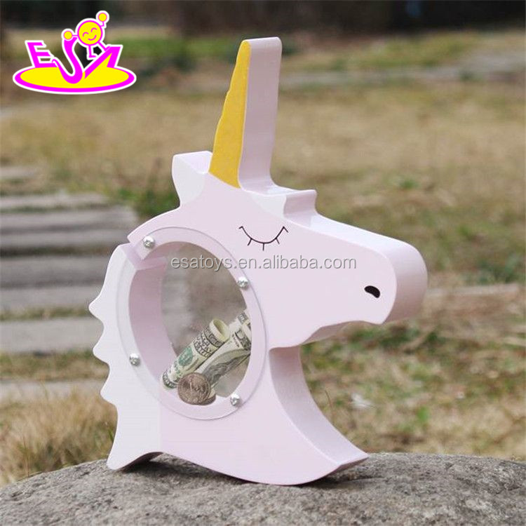 New unicorn design wooden small money box for children saving money W02A257