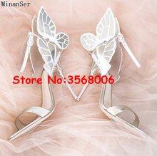 Пикантные женские модельные туфли на высоком каблуке с открытым носком и украшением в виде бабочки; свадебные туфли; женские туфли-лодочки; ...(Китай)