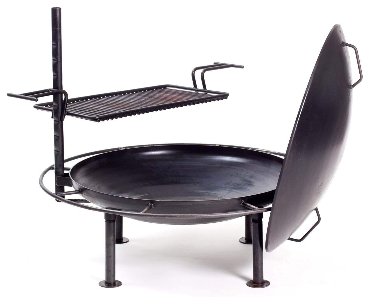"""Firepan 30"""" Heavy Steel Portable, Outdoor Fire Pit, Fireplace, Grill and Camp Stove. Includes Metal Rain Cover / Wind shield and removable Grill"""