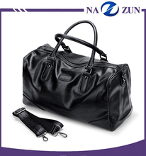 Top Sale China Factory OEM Service Black Leather Outdoor Duffel Weekend Travel Hand Bag For Man