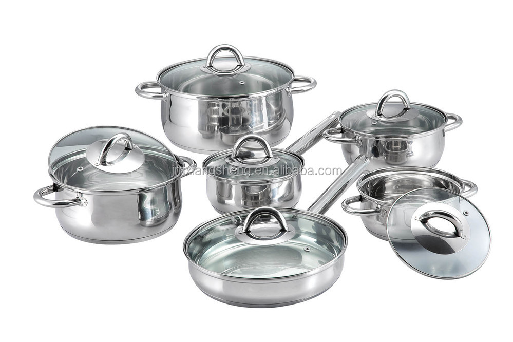 12pcs set stainless steel kitchen king cookware la sera for Buy kitchen cookware