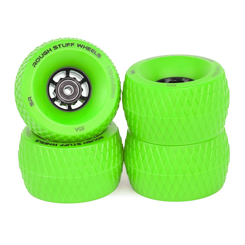 GREENSlick Revolution Skate Wheels: 4-Pack Jumbo 110mm Rough Terrain Longboard/Electric Skateboard Wheels Set| Skateboard Cruiser Wheels with ABEC 7 Bearings| Firm Grip & Easy Slide in Tarmac & Gravel