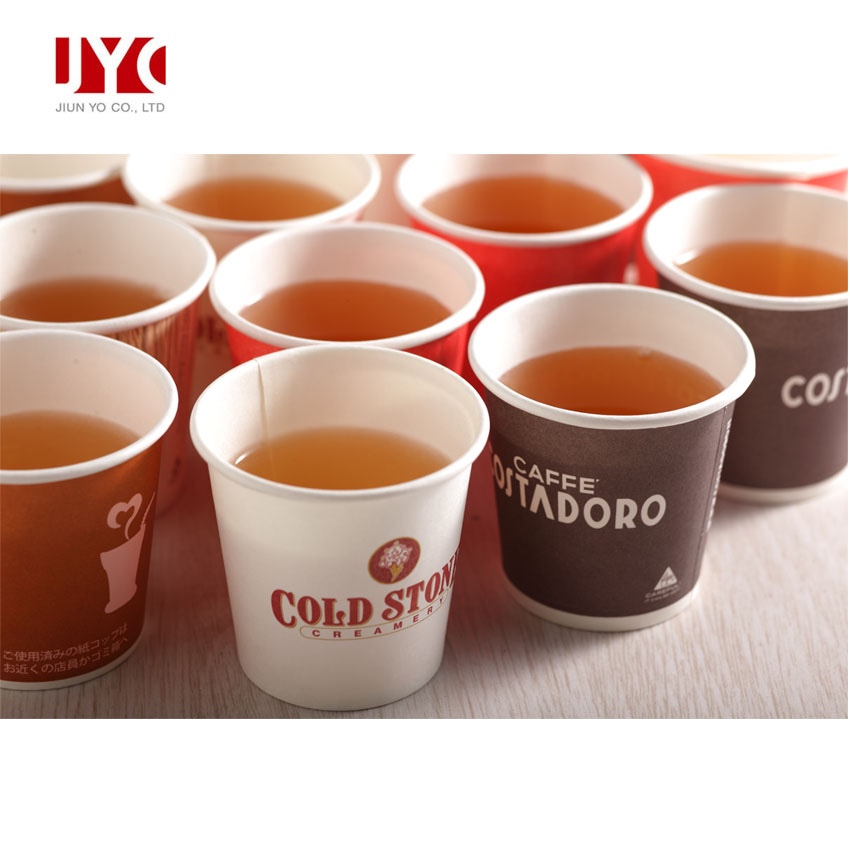 Taiwan custom printed logo PLA coated hot drink disposable paper tea cup