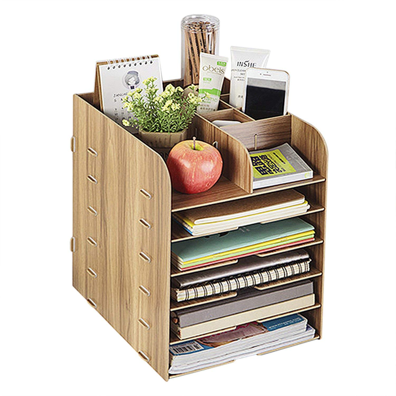 Desk Caddy Organizer Wooden Home Office Work Space Desktop Organizer Filing Organiser Paper File Folder Racks Cosmetic Remote Holders Tray Tidy Book Shelf Pen Holder Bookcase Document Display Rack