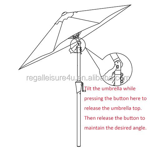 7.5 Feet Outdoor Patio Umbrella with Push-button Tilt and Crank, 6 Ribs, Polyester Canopy