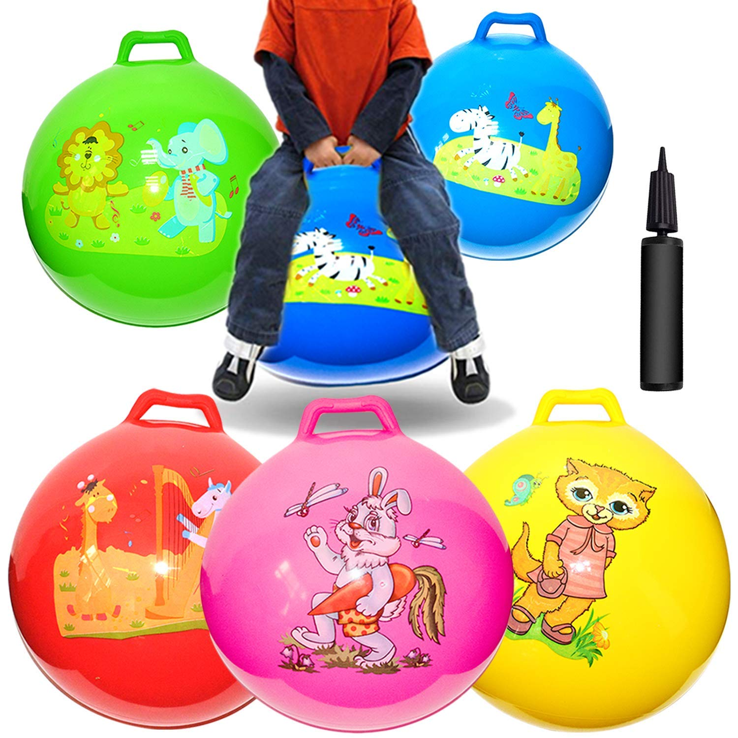 Space Hopper Hop Bouncy Jumping Ball Handle Kids Ages 3-6 Ride On Toys Hoppers Games, 5 Pack 18 inch Hopper Balls Pump Kids School Family Team Sports Birthday Party Favors
