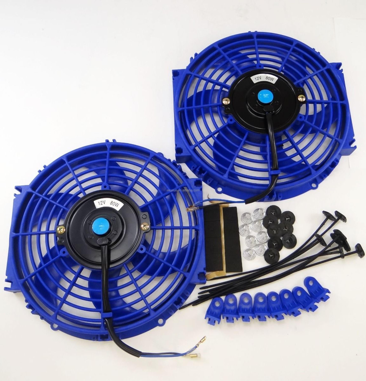 2X 10/'/'inch Electric Radiator Cooling Slim Fan Push Pull Mounting Kit Universal