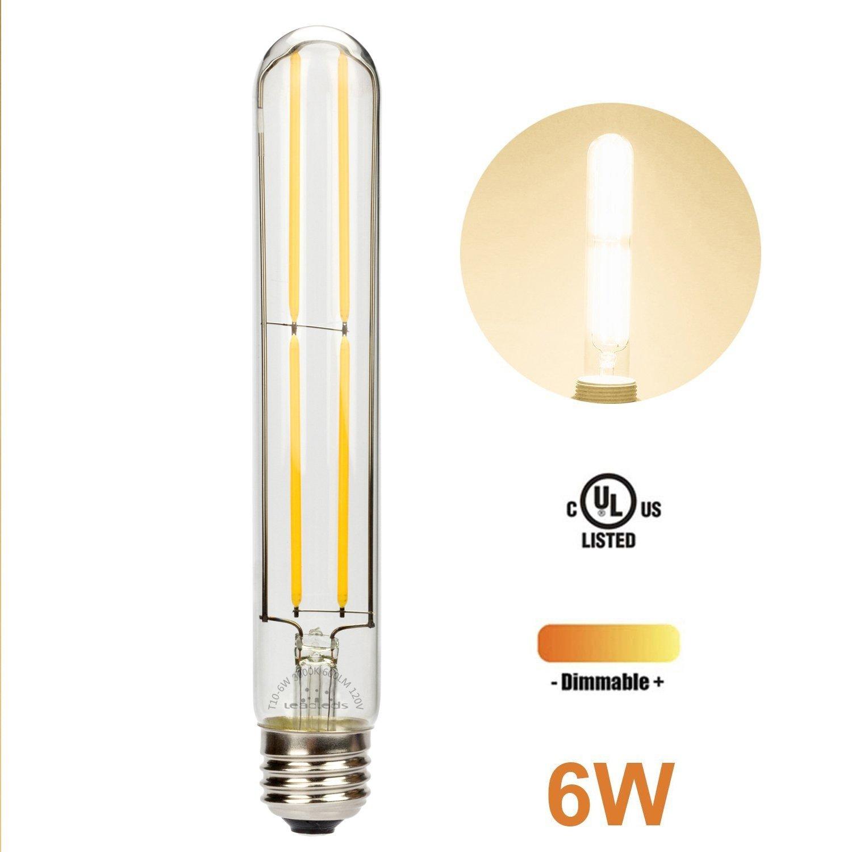 Leadleds Beautiful Edison Bulb Dimmable with Long Filament LED, T10 Tubular E26 Medium Base 60 Watt Incandescent Bulb Equivalent 3000K Warm White