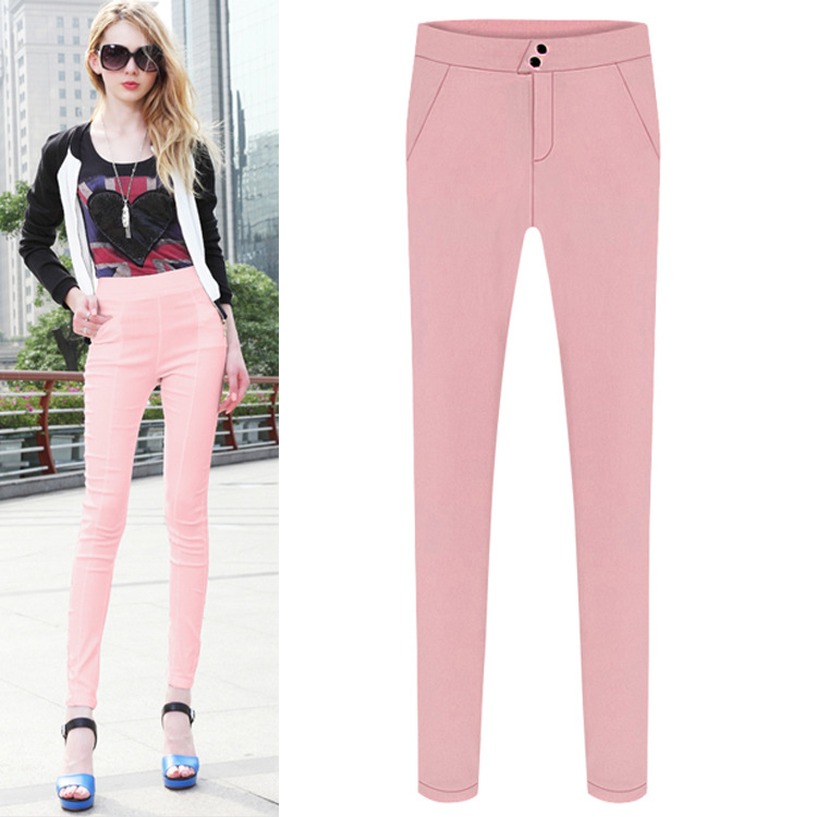 European hot sell women's trousers high waist elasticity pencil pants S/M/L/XL/2XL