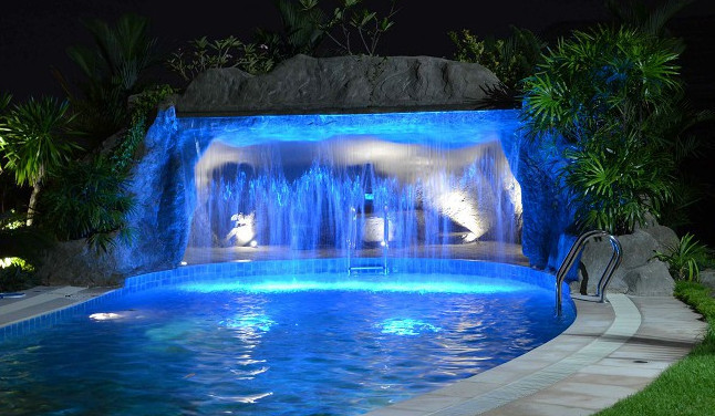 Pool Waterfall Lighting Lighting Ideas