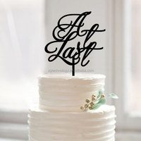 wedding cake decor At Last cake topper Acrylic Personalized Design Party Decoration Cake Topper Pick