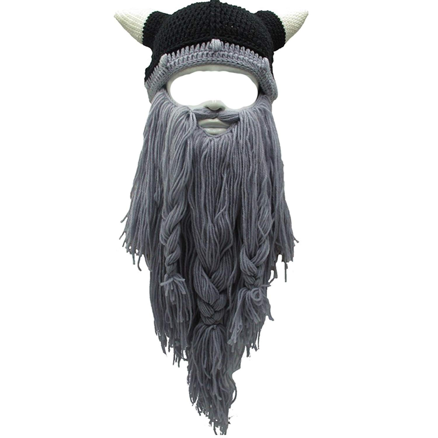 c6681c9284d Get Quotations · Flyou Adult Viking Beard Beanie Horn Hat Winter Warm Mask  Hat Knitted Wool Funny Skull Cap