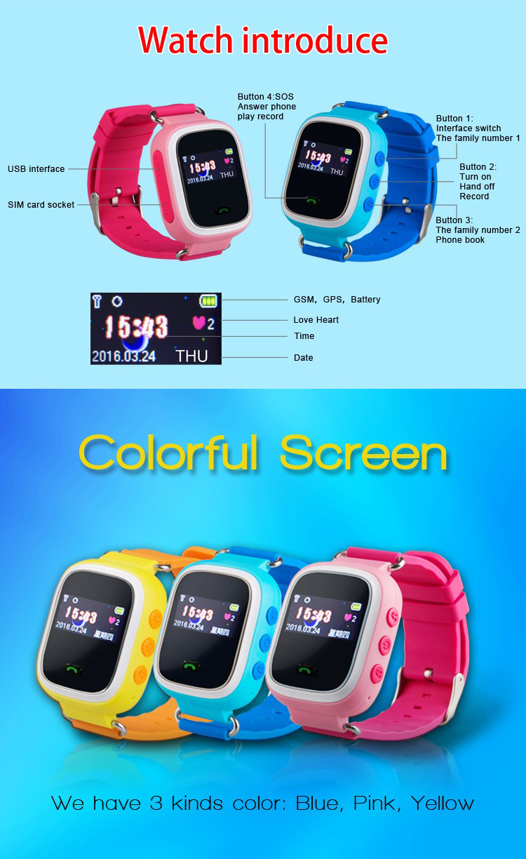 G900 0.96 inch Color display GSM GPRS quad band SOS anti-take off alarm gps watch for kids