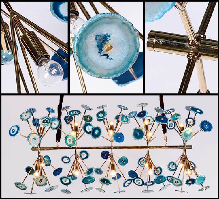 Blue agate chandelier