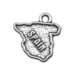 pictorial and beautiful state shape engraved Spain metal alloy fashion charms jewelry wholesale in alibaba