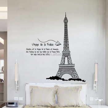 Modern English Quote Eiffel Tower Wall Stickers For Sofa Bedroom Office Wall  Decoration Printable Wall Decal