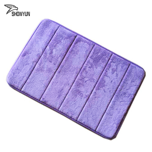Colorful Quilting straight line Memory Foam Bath Mats Absorbent Plain Coral Velvet Mats Doormat Carpet Floor Rug