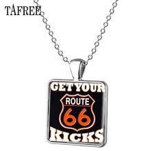TAFREE шоссе 66 США Квадратные подвески, модные ожерелья модного серебристого цвета для мужчин и женщин, ювелирные изделия для Keepsake, UR11(Китай)