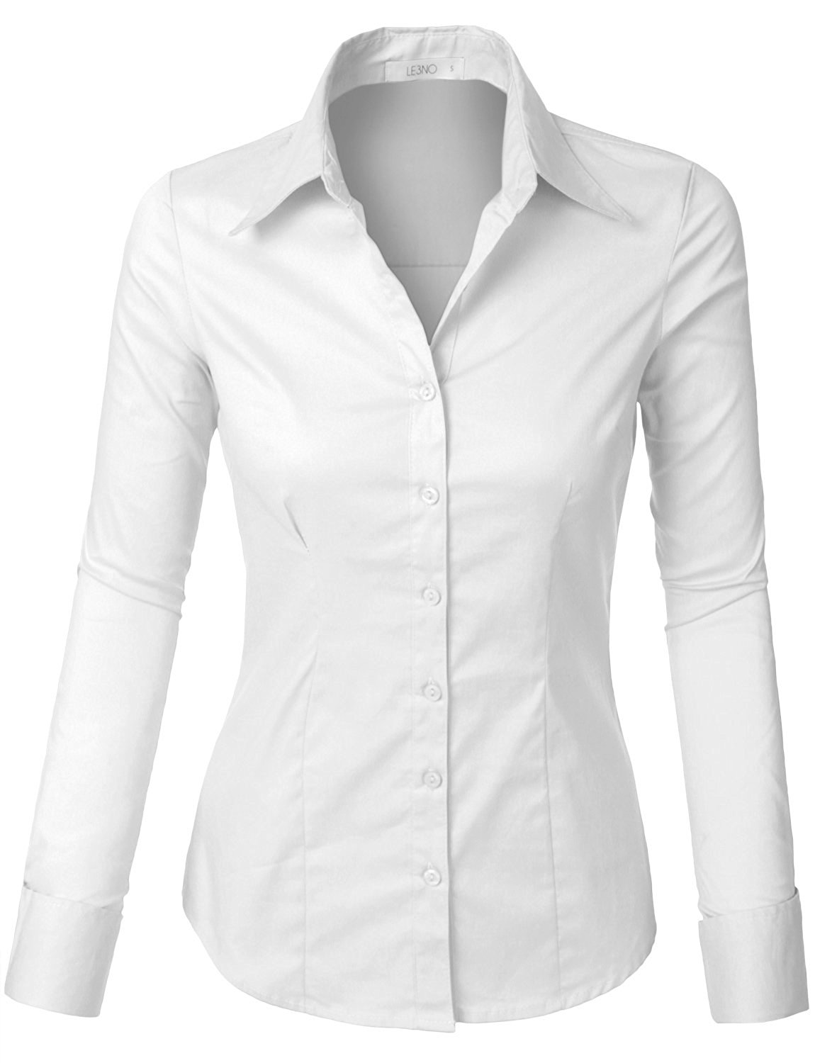ca864f28fcaed5 Buy LE3NO Womens Tailored Long Sleeve Button Down Shirt with Stretch ...