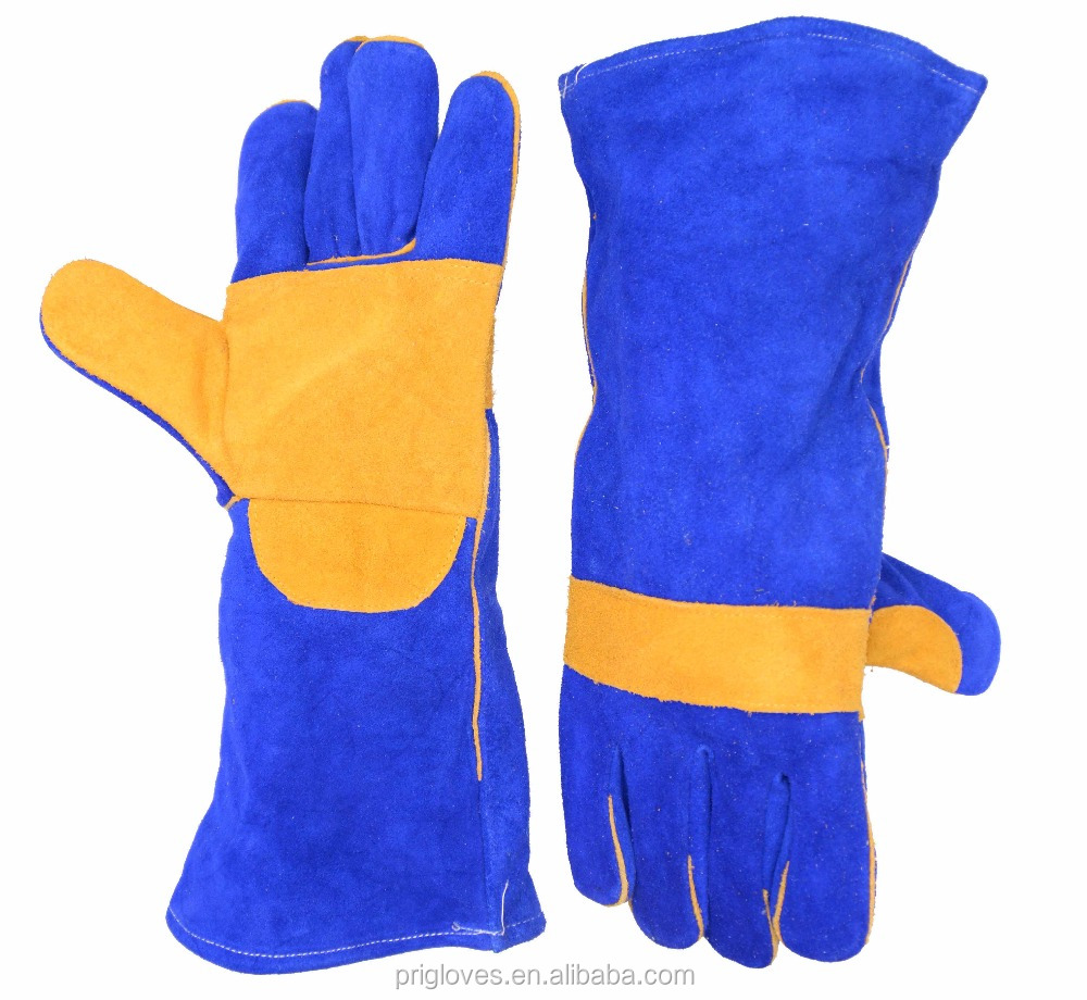"16"" Full Palm Long Cuff Cow Split Leather tig Welding Gloves"