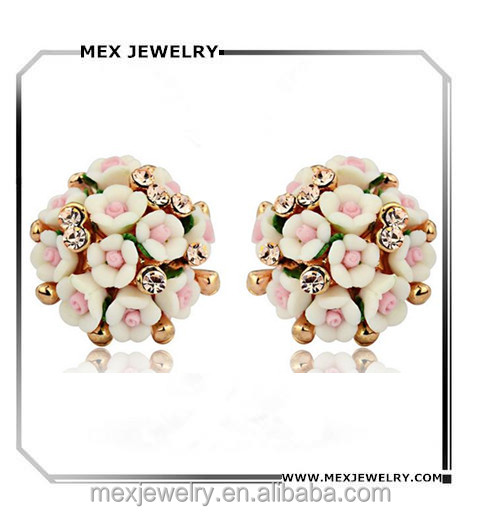 Cheap Custom made crystal rhinestone pink white rose flower ceramic ball earrings