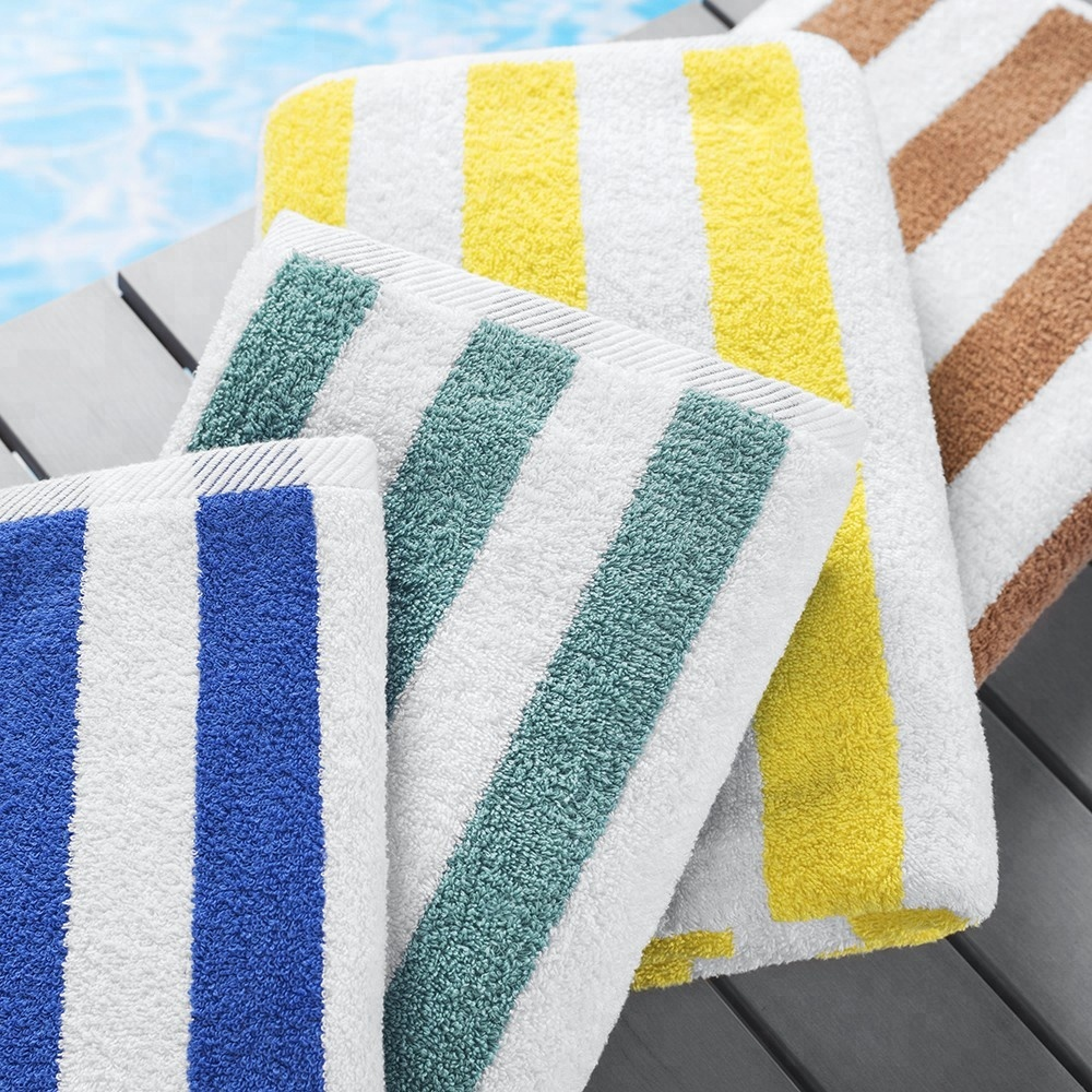 JR026 Absorbent 21S Large Size 100% Cotton Striped Pool Beach Towel