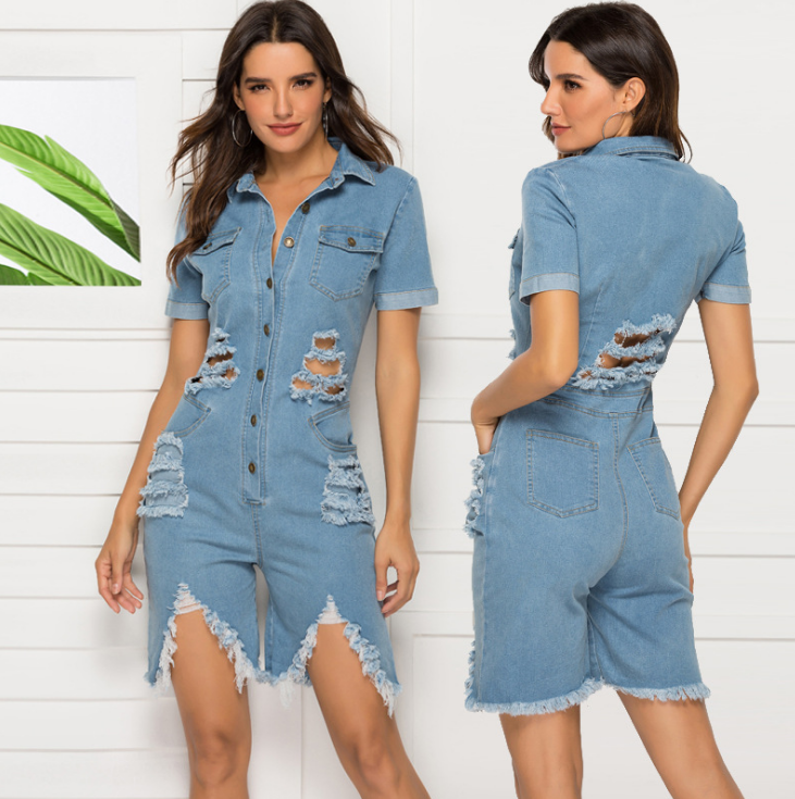 Plus Size Playsuit 2019 Nieuwe Zomer Vrouwen Mode Casual Jeans Wassen Water Hole Sexy Slim Denim Jumpsuit