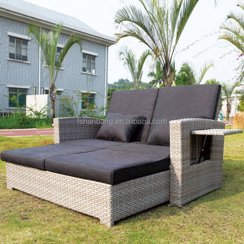 Modern Garden Rattan Furniture Outdoor 2 Seater Sofa Sun Lounger Bed ...