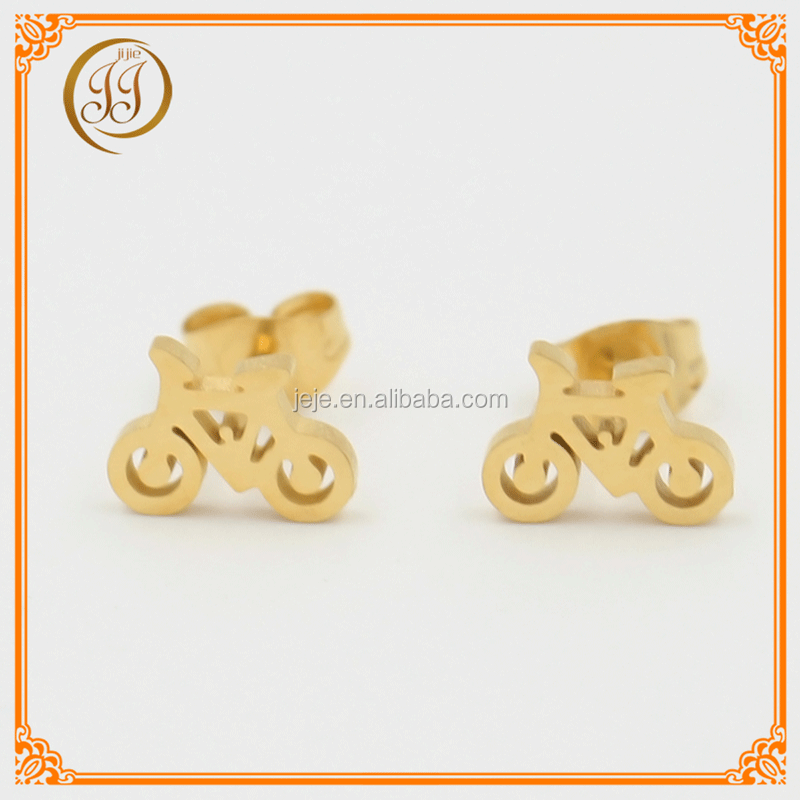 Cheapest Fashion Accessories Stainless Steel Gold Earrings For Women Promotion Bicycle Shaped Earing Studs