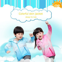 High Quality Gradient Windproof Waterproof Rain Jacket Kids Sportswear