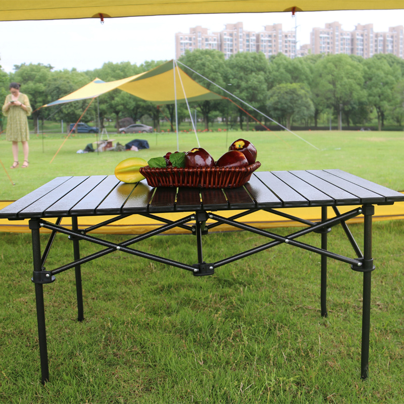 easy-carry <strong>folding</strong> &amp; roller up barbecue table camping desk promotion table