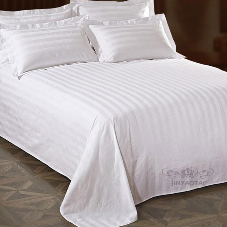 White Stripe Hotel Bed Sheets Bedding Set Sheraton Satin