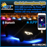4pcs RGB LED Under Car Glow Underbody System Neon Lights Kit with APP wifi control 60CM+90CM car underbody kits led light